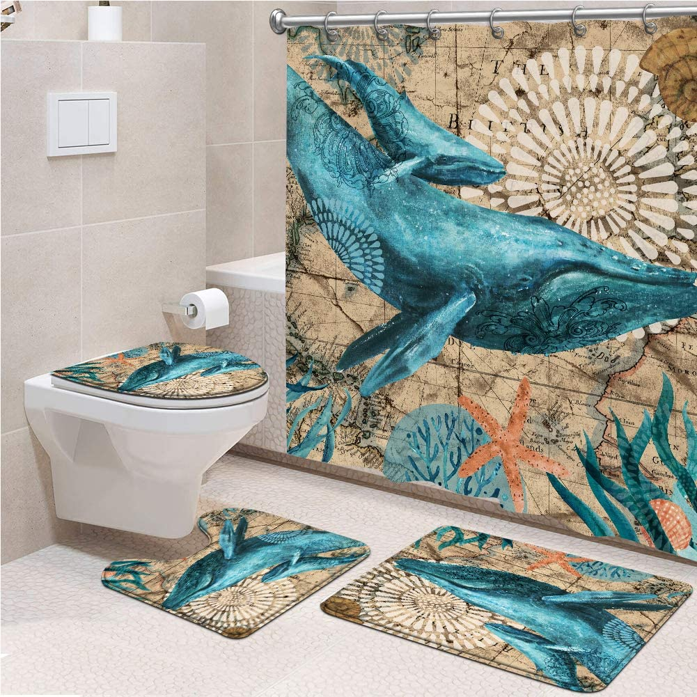 Genrics 4 Pcs Sea 新作販売 Whale Shower 絶品 Curtain Set Ocean Nautical Fabric