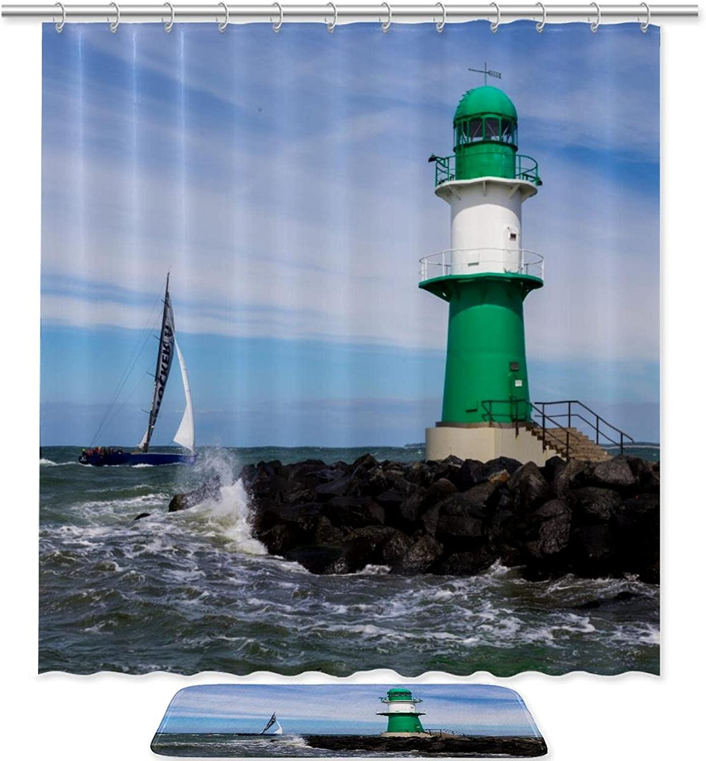 Lighthouses Sea Landscape Wholesale Shower Curtain Mat Bath Waterp Set Some reservation and