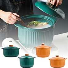 XIUSeiJ New Casserole Ceramic Saucepan Soup Pot Hot Soup Pot Crock Pots High Temperature Resistant Cooking Pan for Gas Sto...