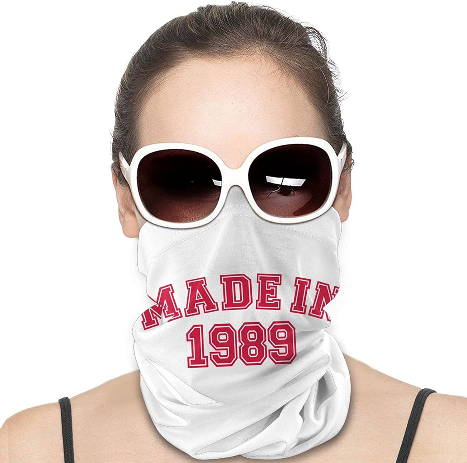Made in 1989 Round Neck Gaiter Bandnas Face Cover Uv Protection Prevent bask in Ice Scarf Headbands Perfect for Motorcycle Cycling Running Festival Raves Outdoors