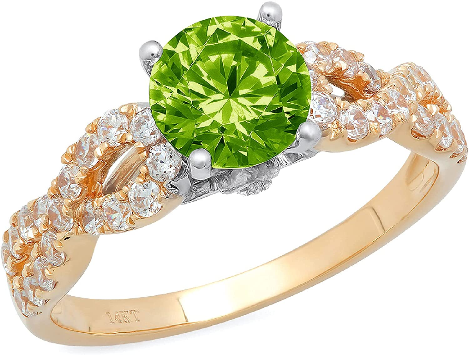 1.35ct Brilliant Round Cut Solitaire Genuine Flawless Natural Green Peridot Gemstone Engagement Promise Anniversary Bridal Wedding Accent Ring Solid 18K 2 tone Gold