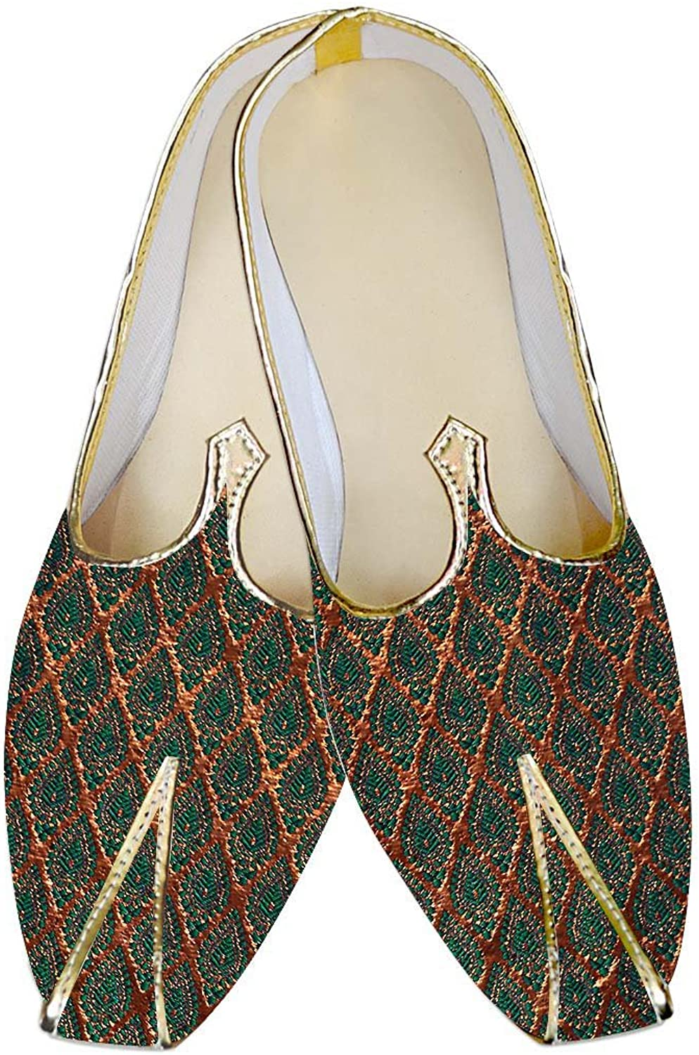 INMONARCH Mens golden and Teal Wedding shoes MJ011314