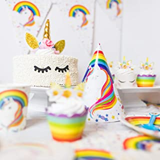 188-Pc Complete Rainbow Unicorn Birthday Party Supplies for 12 Guests - Tableware and Decorations - Mylar Balloon Set + Cake & Cupcake Toppers + Tablecloth & Banner + Party Bags, Invitations & Hats
