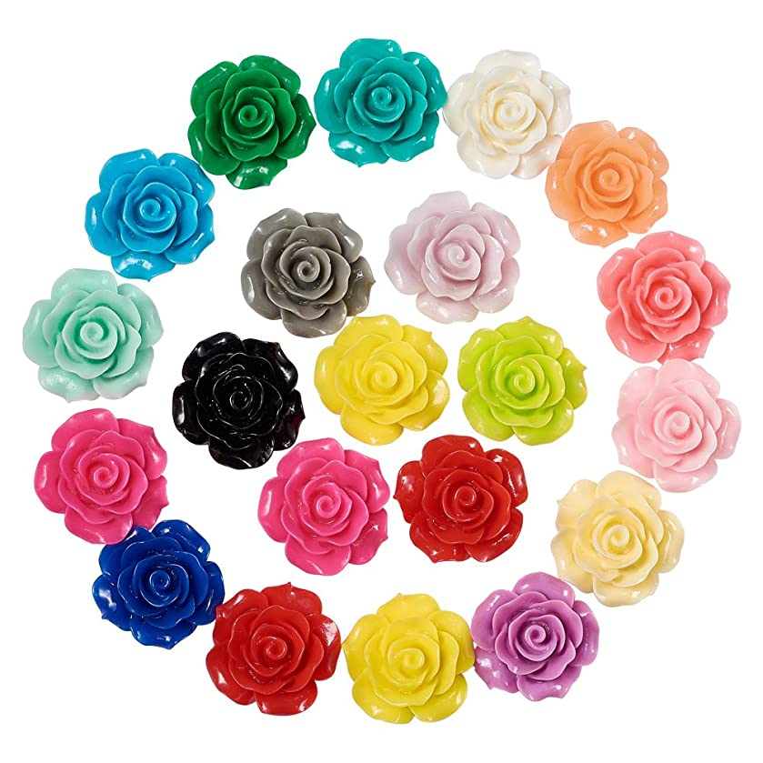 Craftdady 20Pcs Random Mixed Colors Flat Back Resin Flower Cabochons 18~20x9mm DIY Scrapbooking Embellishments Craft Jewelry Making Findings