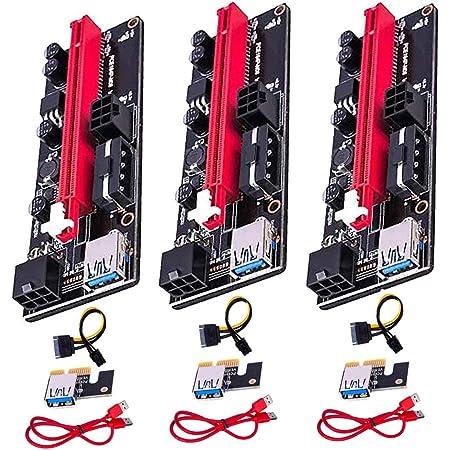 GPUマイニングパワードライザーアダプターカード用のPCIEライザー1Xから16Xグラフィックス拡張、60cm USB 3.0ケーブル、4つのソリッドコンデンサ、2つの6PINおよびMolex 3電源オプション(ブラック、VER 009S、3パック)