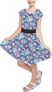 Rainbow Rules Frozen Snowflakes and Crystals Girls Short Sleeve Skater Dress