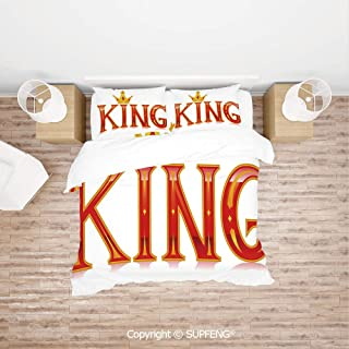 SCOXIXI Bed Cover Set Royal King Quote in Capital Lettering with Crown as Dot Vivid Slogan Like Art Print (Comforter Not Included) Soft, Breathable, Hypoallergenic, Fade Resistant