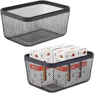 mDesign Panier de Rangement (Lot de 2) – Panier en métal pour Cuisine, Garde-Manger, etc – Corbeille de Rangement compacte...
