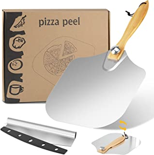 Tobeape Aluminum Metal Pizza Peel & Pizza Cutter, with Foldable Wood Handle for Easy Storage, Large Folding Pizza Paddle f...