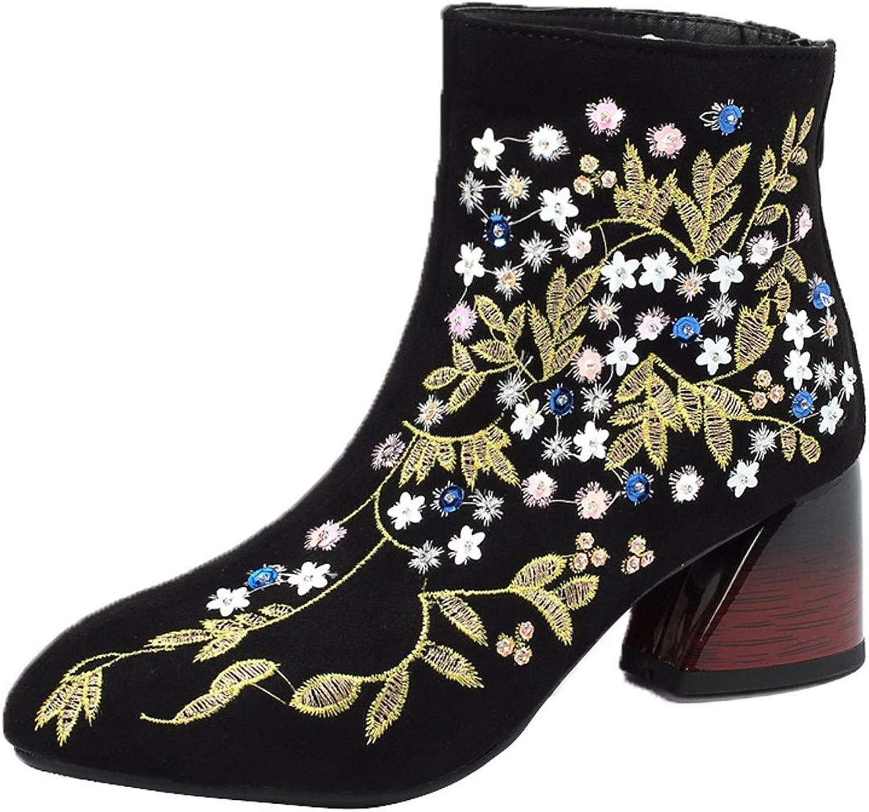 KOKQSX-Vintage Stile Nazionale Ricami Medio e Breve di 5 cm Stivali Spesso i Tac  spoglia Gli Stivali.