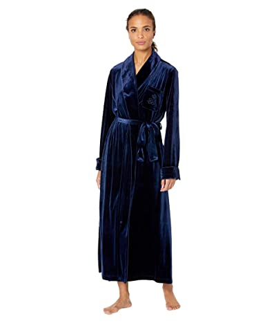 LAUREN Ralph Lauren Velvet Long Shawl Collar Robe (Navy) Women