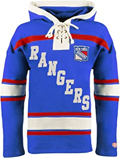 Old Time Hockey New York Rangers Mens Royal Original Lacer Fleece Hooded Long Sleeve Sweatshirt