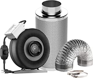 VIVOSUN Air Filtration Kit: 4 Inch 203 CFM Inline Fan with Speed Controller, 4'' Carbon Filter and 8 Feet of Ducting Combo