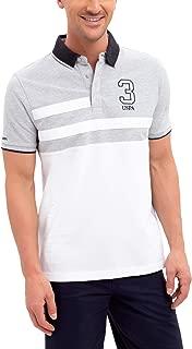 U.S. Polo Assn. Mens Color Block Stripe Pique Polo Shirt with 3 Patch