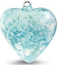 Hand Blown Glass Heart Ornament by Iron Art Glass Designs (Aquas)