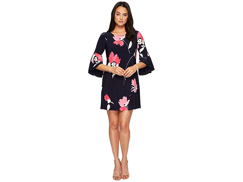 LAUREN Ralph Lauren Tycenda Galleria Floral Matte Jersey Dress (Lighthouse Navy/Riviera Rose/Multi) Women