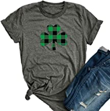 JINTING St. Patrick's Day Shirts Lucky Plaid Shirt Letter Print Tee Shirts for Women Cute Graphic Tee Shirts with Saying