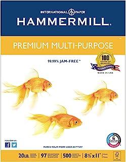 Hammermill Premium Multipurpose Laser Inkjet Printer Copy Paper, 8 1/2 Inch x 11 Letter Size, 20 lb. Density, 97 Brighter ...
