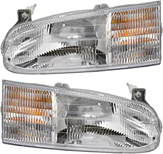 Driver and Passenger Headlights Headlamps Replacement for Ford Van F58Z 13008 B F58Z 13008 A AutoAndArt