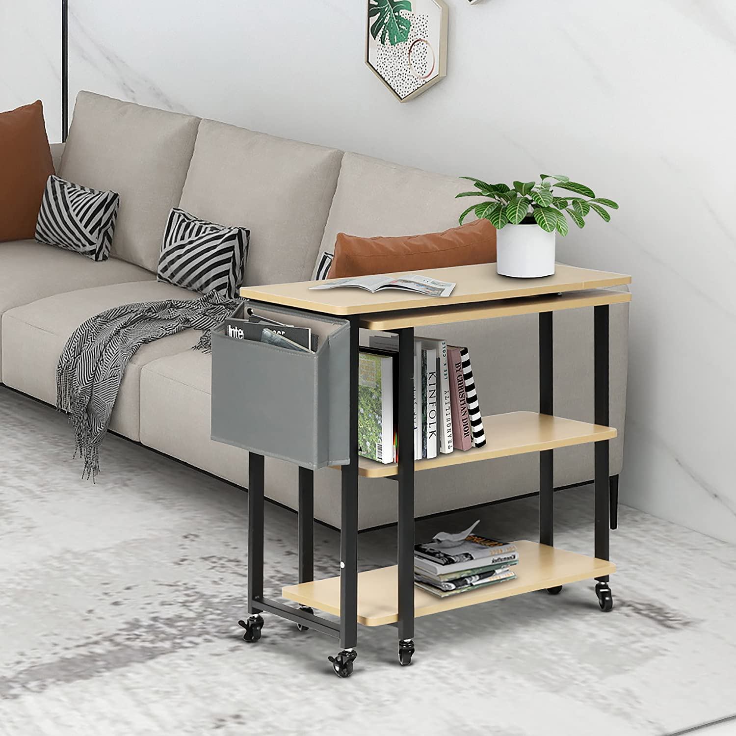 HOPUBUY Sofa SALENEW very popular Side Table 360°Free Rotating Cou price Console