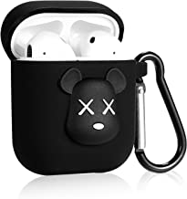 Joyleop Small Black Bear Case for Airpods 1&2,Cute Character Silicone 3D Funny Cartoon Airpod Cover,Soft Kawaii Fun Cool Animal Skin Kit with Carabiner Unique Cases for Girls Kids Teens Women Air pods