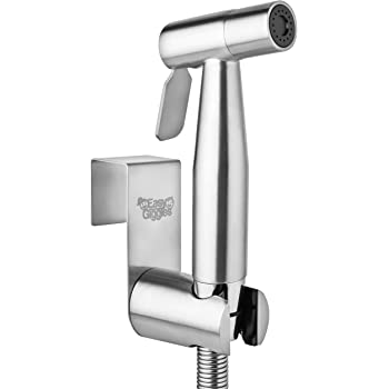 Stainless Steel Cloth Diaper Sprayer Kit by Easy Giggles - Handheld Bidet Spray for Toilet with Brushed Nickel Finish and Complete Accessories