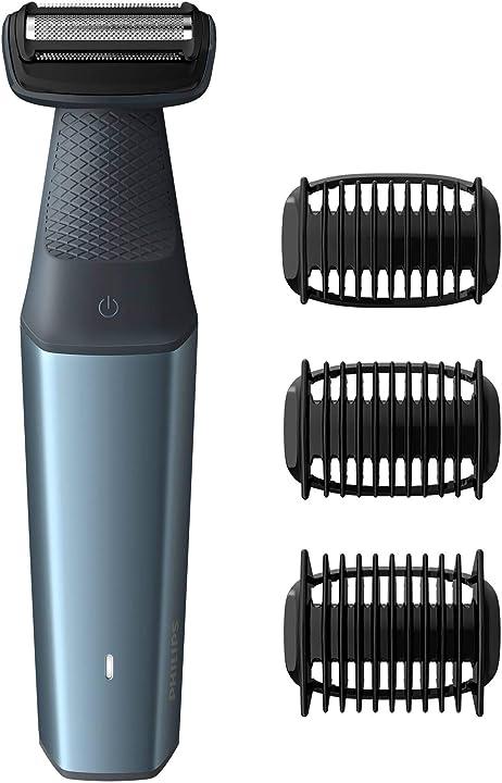 Taglia peli corpo uomo philips bodygroom series 3000 utilizzabile sotto la doccia con 3 pettini rifi BG3015/15