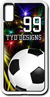 Cell Phone Case Fits iPhone Models XS or X Create Your Own Soccer SC1058 with Player Jersey Number and/Or Name Or Team Name Customizable by TYD Designs in White Rubber
