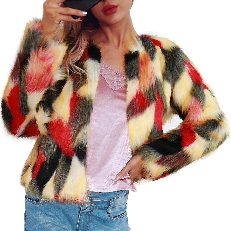 Women et Winter Warmful Faux Fur Coat Long Sleeve Shaggy Short Cardigans Overcoat