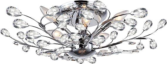 Branch Of Light 8 Light Chrome Semi Flush Mount Clear European Tear Drop Crystal
