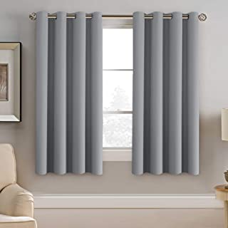 H.VERSAILTEX Blackout Grey Curtains 63 Inch Length Grey Thermal Insulated Curtains for Bedroom, Grommet Top Thermal Insulated Short Curtains Drapes for Winter (1 Panel, Dove Gray)