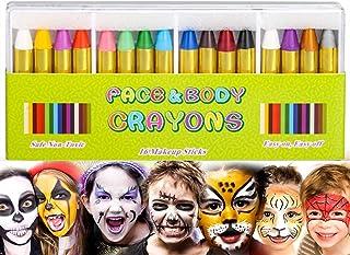 Kinderschmink, 16 stuks bodypaint make-up lichaamsbeschildering sticks gezicht schilderen kleurpotloden voor kinderen Hall...