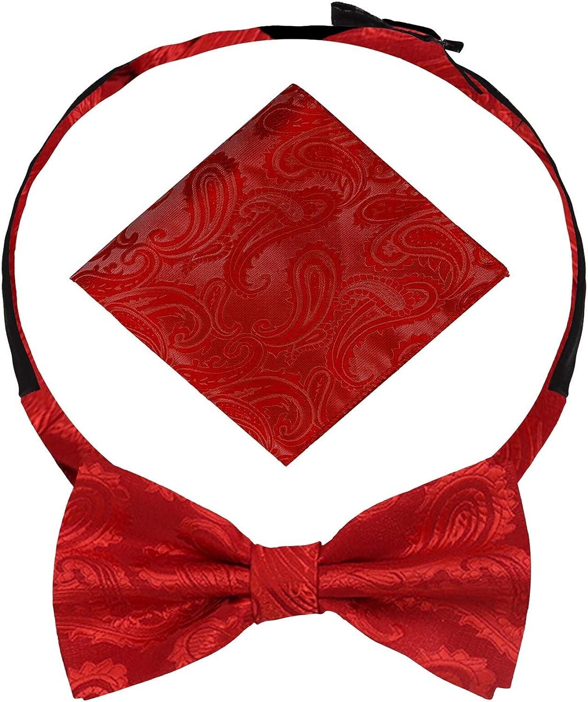 Dan Smith Silky Oversized Bow Tie Large Pretied Bow Tie Hankie Cufflink Flower Lapel Pin Set