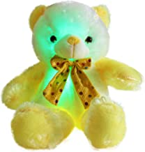 WEWILL LED Teddy Bear Stuffed Animals Glow Soft Plush Toy Sparkle Colorful Lights, Gift for Birthday Christmas, 20- Inch(Yellow&White)