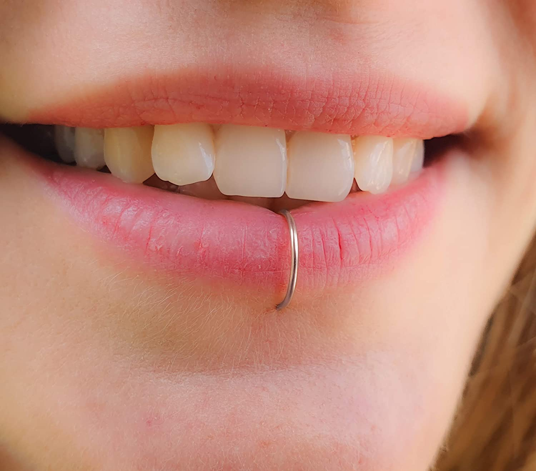 Fake Lip Ring silver gift Faux ring -clip Popular hoop piercings on