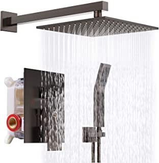 SR SUN RISE Venetian Bronze Shower System 10 Inch Brass Bathroom Luxury Rain Mixer Shower Combo Set Wall Mounted Rainfall Shower Head System Shower Faucet Rough-in Valve Body and Trim Included