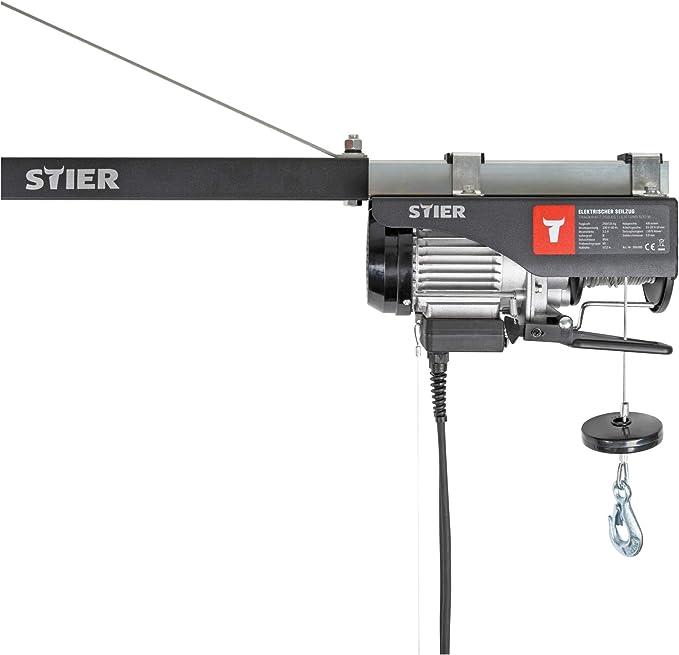 Stier Elektrischer Seilzug Tragkraft 500 Kg Leistung 900 W Hebehöhe Bis 12 M Inkl Befestigungsbügel Einfache Montage Sicherheit Durch Not Aus Schalter Baumarkt
