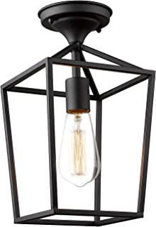Emliviar Semi-Flush Mount Ceiling Light, 1-Light 13 inch Height Ceiling Light Fixture in Black Finish, 20065B1-F1 BK