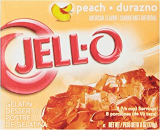 JELL-O Peach Gelatin Dessert Mix (6 oz Boxes, Pack of 6)