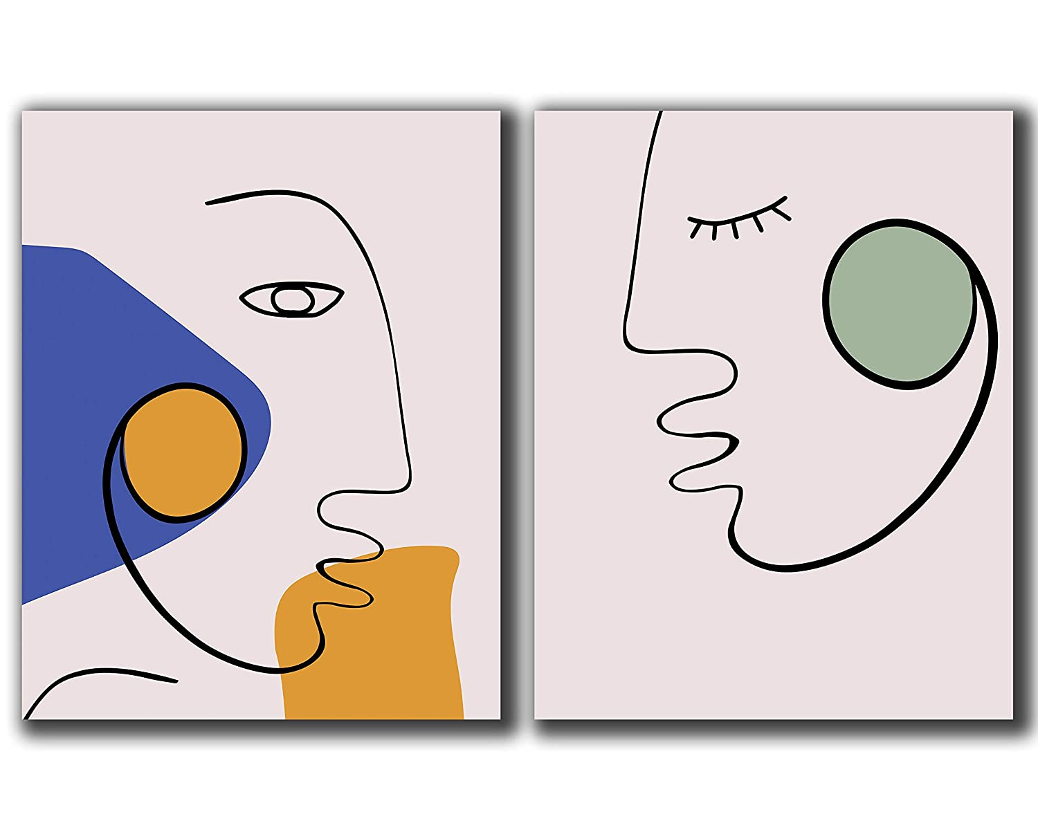 Contemporary Minimalist Faces Wall Art UNFRAME Challenge the lowest price of Japan ☆ Set 2-11x14