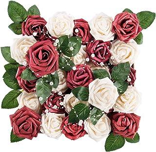 Meiliy 60pcs Artificial Flowers Burgundy+Cream Rose Heads Real Looking Foam Roses Bulk w/Stem for DIY Wedding Bouquets Corsages Centerpieces Arrangements Baby Shower Cake Flower Decorations