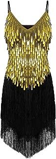 CHICTRY Women's Sequin Fringe Tassels Ballroom Samba Tango Latin Dance Dress
