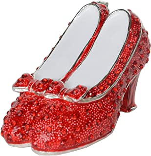 Jiaheyou Ruby Slipper Bejeweled Silver Plated Jewelry Box Faberge Collection Shoe Trinket Box Metal Vintage Decoration