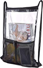 Clear Drawstring Backpack-PVC Drawstring Bag with Front Zipper Mesh Pocket and Bottle Mesh Poket