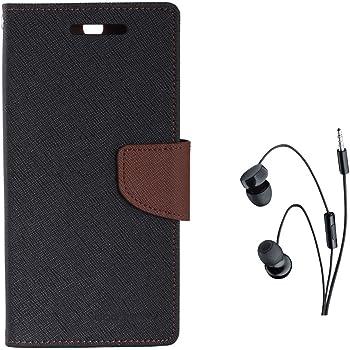 Avzax Diary Look Flip Case Cover for Micromax A310 Canvas Nitro (Black) + in Ear Headphone