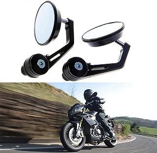 KATUR Universal Motorcycle Rearview Mirror Black Retro Style Side Rear View Mirror Motorbike Handlebar End Mirrors for 7/8 22MM Handle Bars Fits for Honda Suzuki Yamaha Harley Davidson