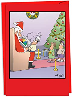12 'Naughty Nice Meter' Boxed Christmas Cards with Envelopes 4.63 x 6.75 inch, Funny Santa Claus Cartoon Holiday Cards, Naughty Nice List Holiday Notes, Unique Christmas Stationary C4531XSG-B12