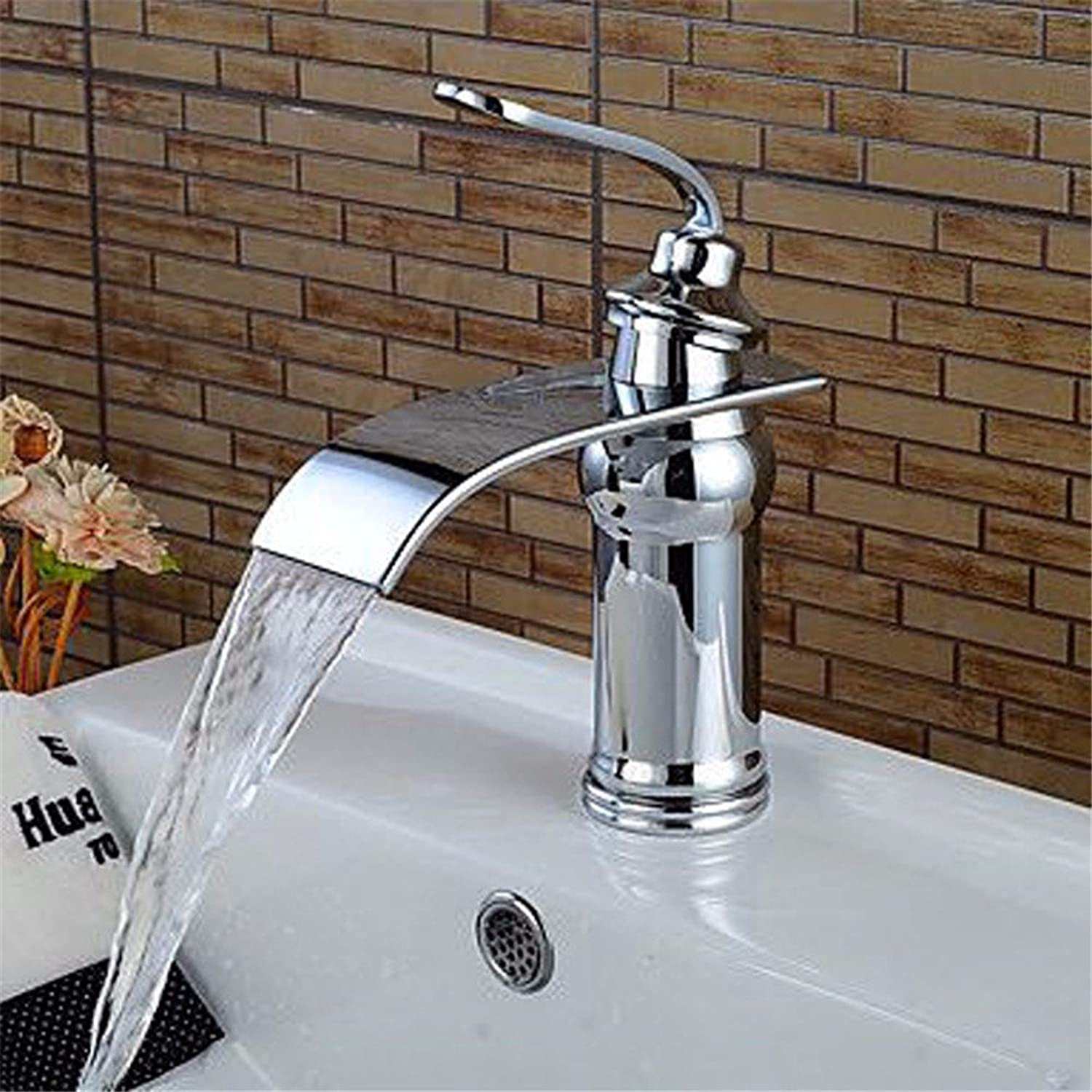 Bathroom Faucet All Bronze Waterfall Plating Hot and Cold Basin Faucet,A