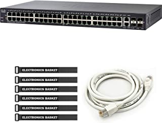 Cisco SF250-48 48-Port 10/100 Smart Switch + 5-Foot Ethernet Cable + Cable Ties - SF250-48-K9-NA