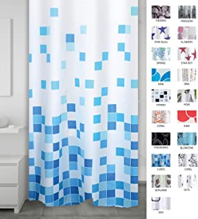Ridder 403310–00–Cortina de Ducha (Textil, plástico, Azul, 200x 180cm
